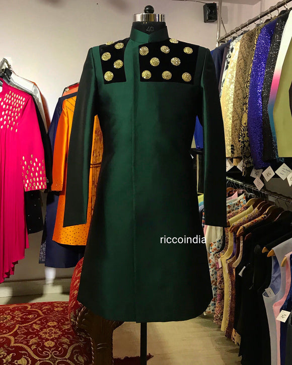 Bottle green taffeta silk modern sherwani
