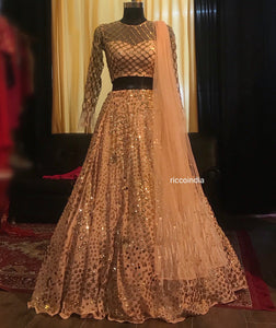 Peach Lehenga with gold sequin work