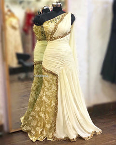 Off white Greek style draped sareegown