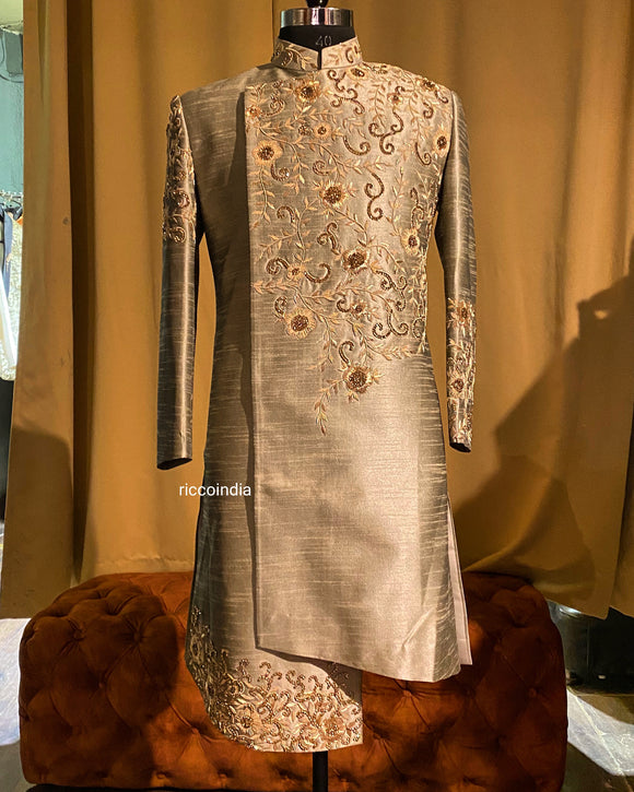 Grey Indowestern sherwani with gold zardosi work