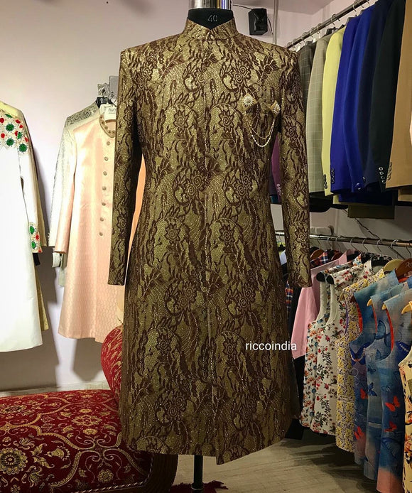 Gold appliqué embroidery sherwani