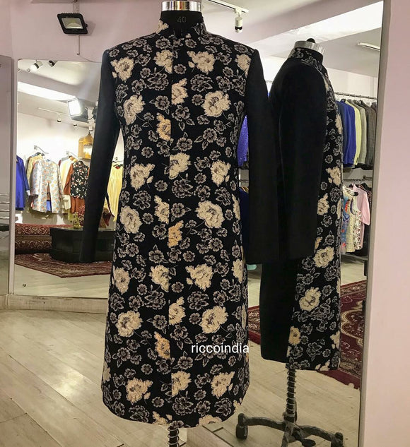Blue floral sherwani with gota flowers