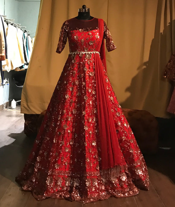 Red belted Anarkali gown