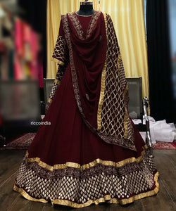 Maroon Anarkali gown with gota and zari work
