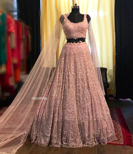 Intricate cut Dana work blush pink bridal Lehenga