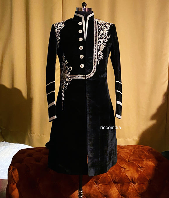 Black velvet sherwani with silver crystal embroidery