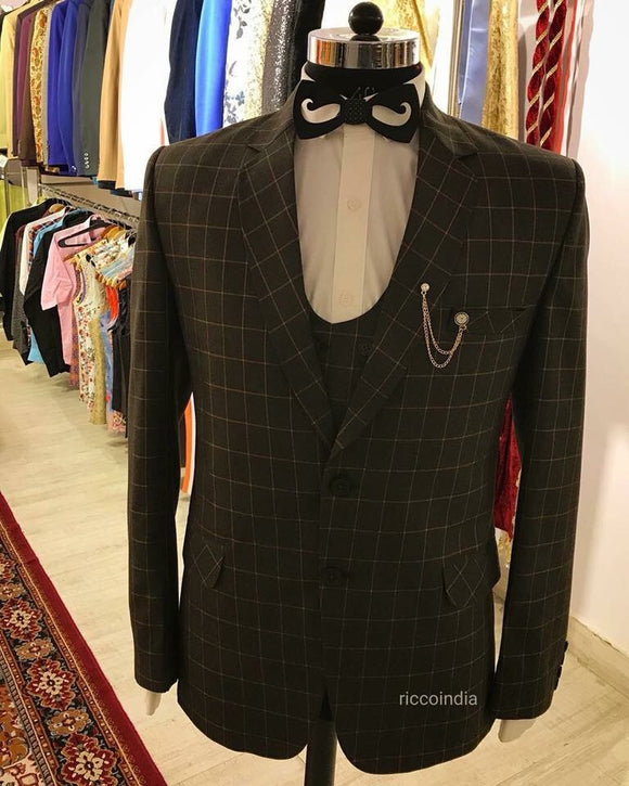Checkered three piece tuxedo