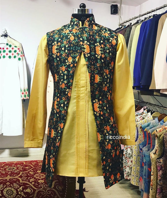 Indowestern sherwani with pin tuck kurta and pyjami