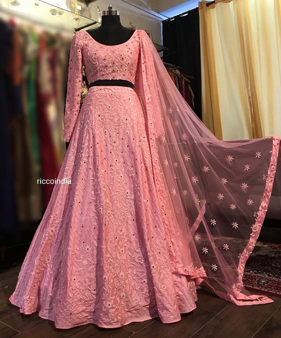 8f2796cc14b Baby Pink bead work heavily embroidered Lehenga