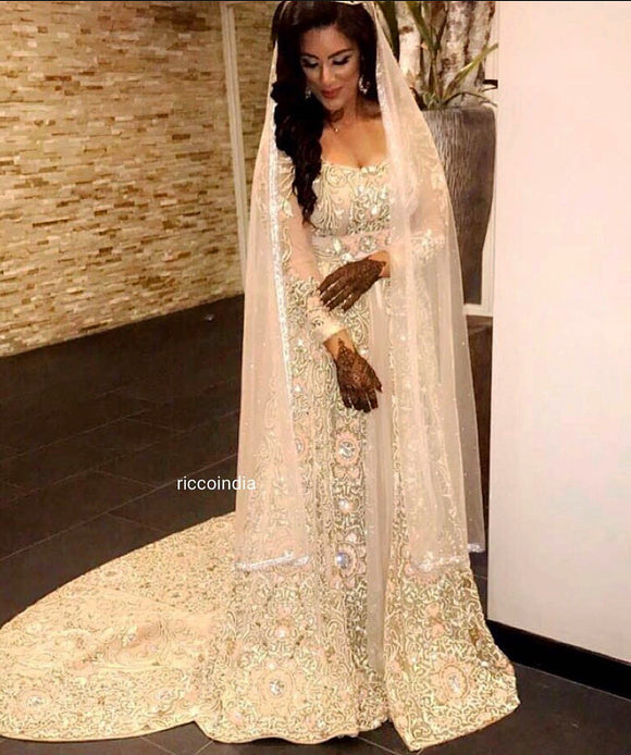 White train Anarkali gown