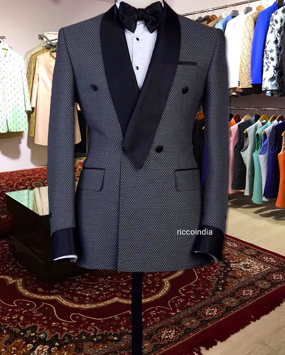 Checkered Italian suiting fabric tuxedo with triangular collar