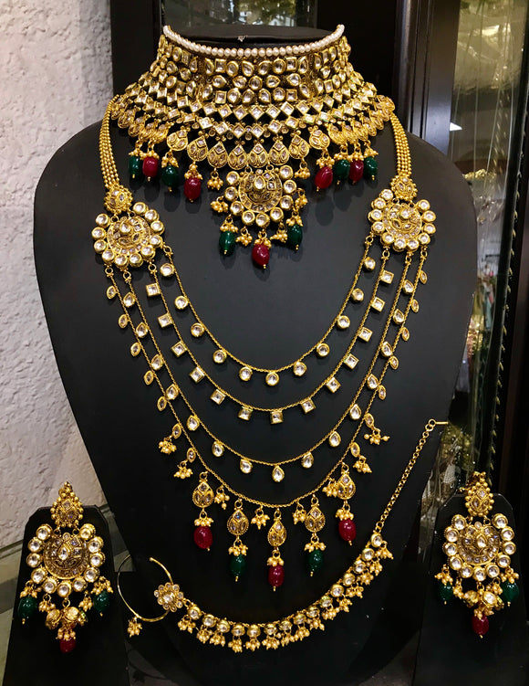 Green and maroon stone bridal set