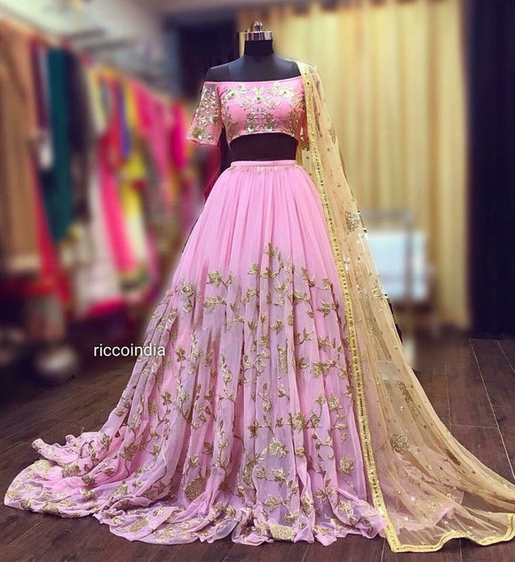 Baby pink offshoulder Lehenga with train