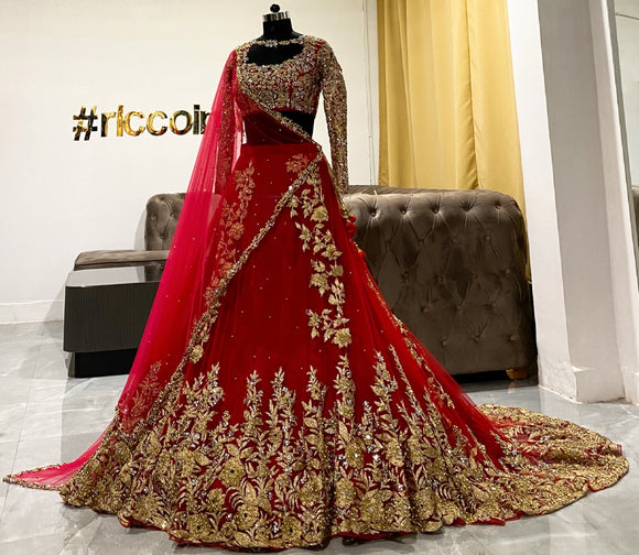 Red train lehenga