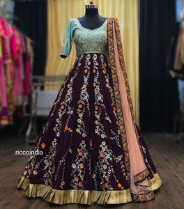 Resham work floral embroidery Anarkali gown