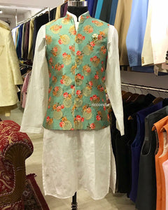 Floral v neck waist coat with kurta pyjama