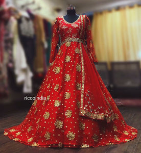 Red Anarkali gown with train with belt for dupatta