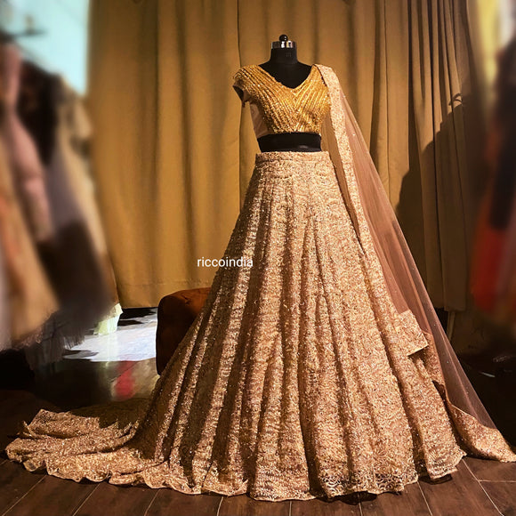 Champagne gold train lehenga with tassel blouse