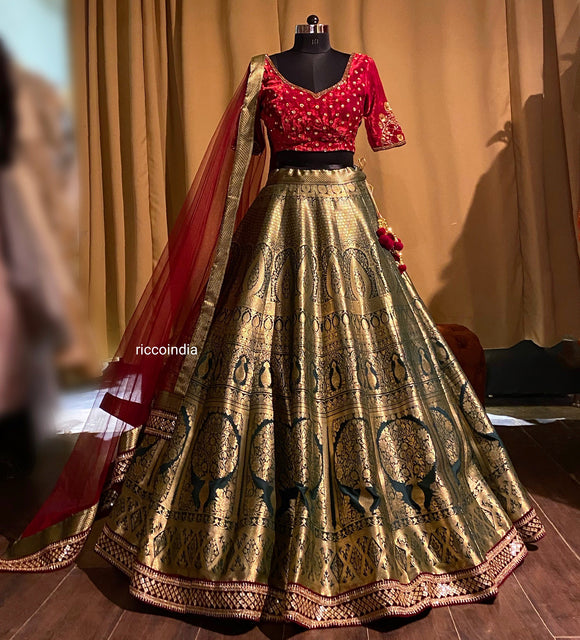 Green benarsi lehenga with velvet embroidered top