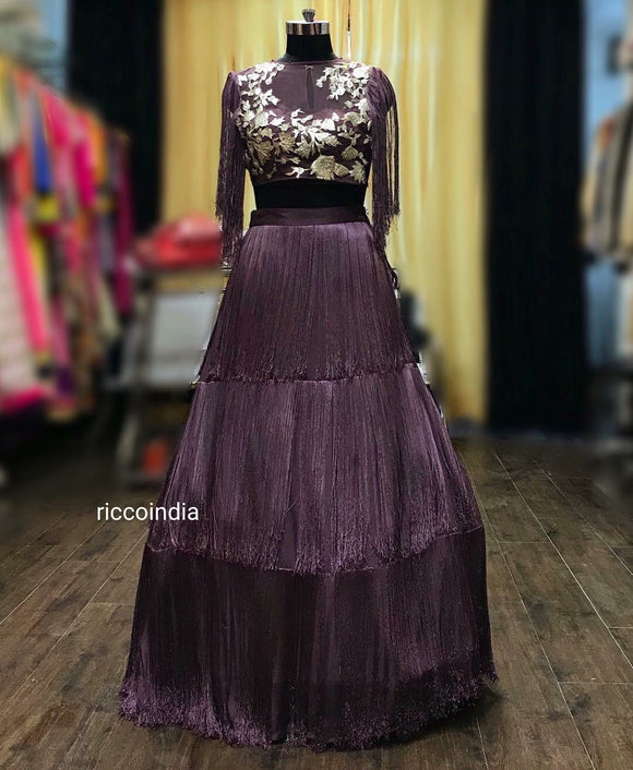 Fringe layered mauve skirt with leather embroidery top and fringe sleeve