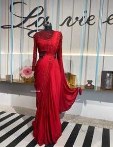 Red corset blouse belt saree gown