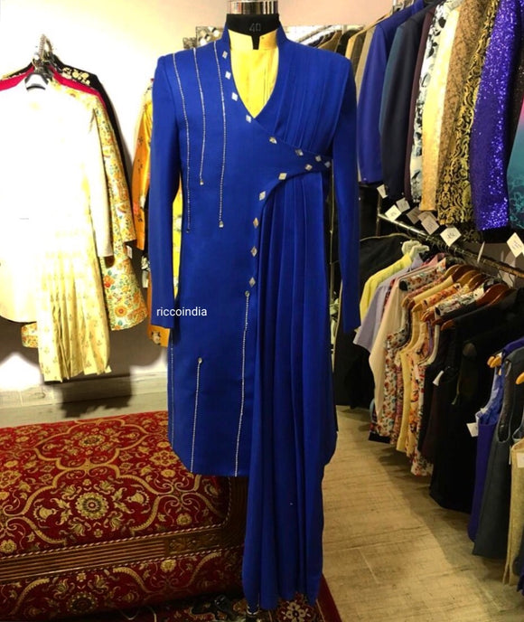 Blue draped sherwani with v neck.