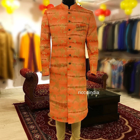 Peach tie dye sherwani with fringe pocket detail