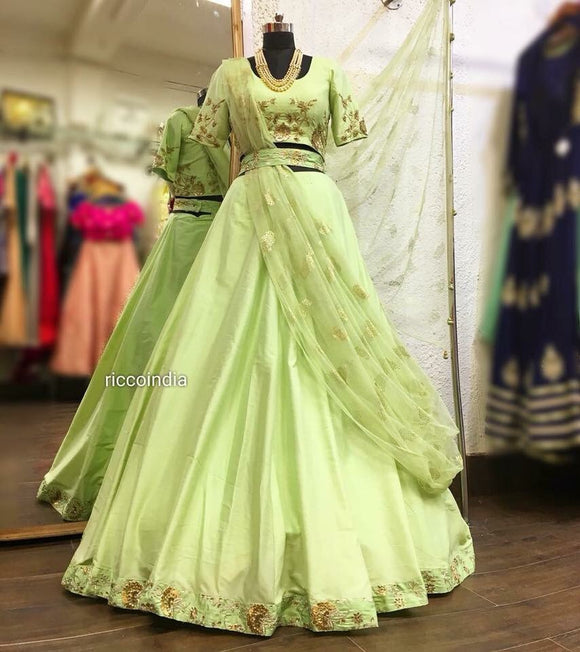 Mint draped Lehenga
