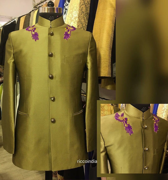 Gold bandhgala blazer with bird embroidery