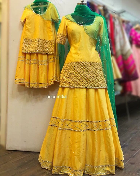 Yellow Mirrorowork sharara with curved green mirrorwork dupatta