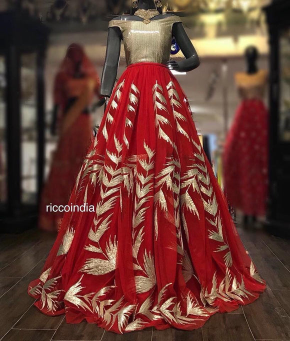 Gota work offshoulder red cocktail gown