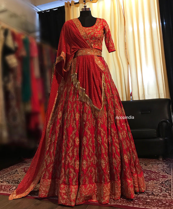 Red cut Dana work Lehenga with draped dupatta
