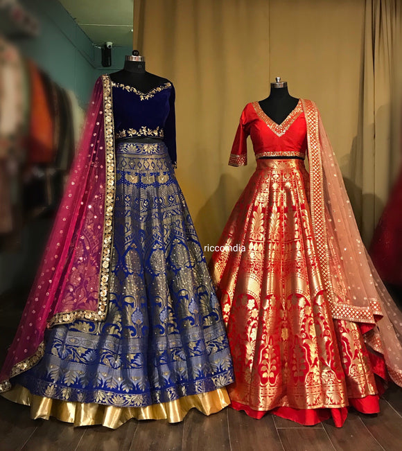 Benarsi lehengas in red and Blue