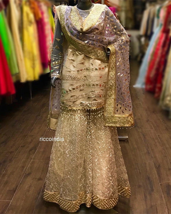 Gold leather and gota embroidery sharara