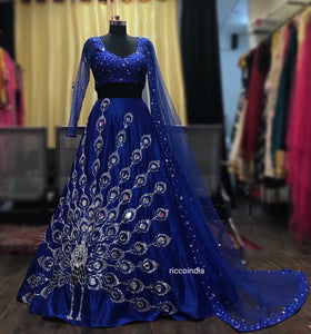 Blue peacock embroidery mirrorwork lehenga