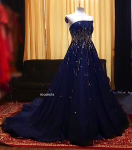 Blue cocktail gown with train