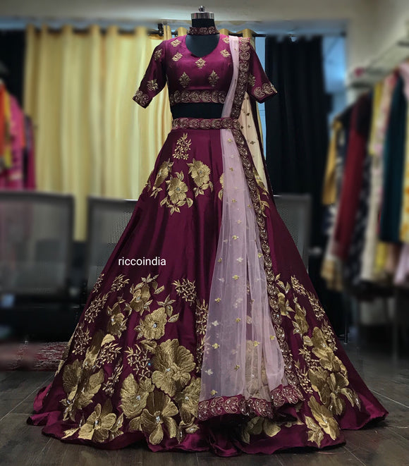 Wine belt Lehenga with choker blouse and pink dupatta