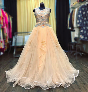 Peach flared cocktail gown with crystal work