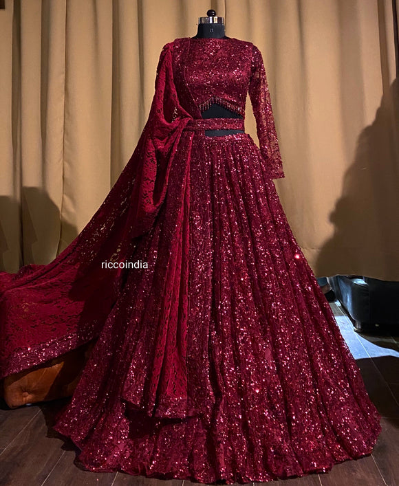 Burgundy lehenga with sequin and beads embroidery with lace dupatta
