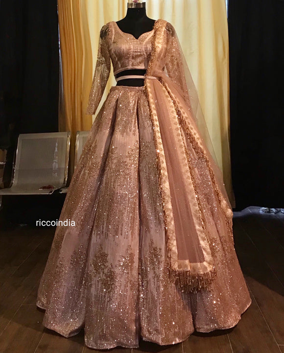 Rose gold structured lehenga