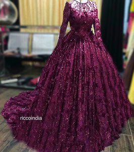 Wine intricate bead work cocktail gown