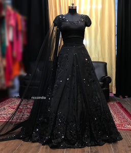 Black sequin work Lehenga