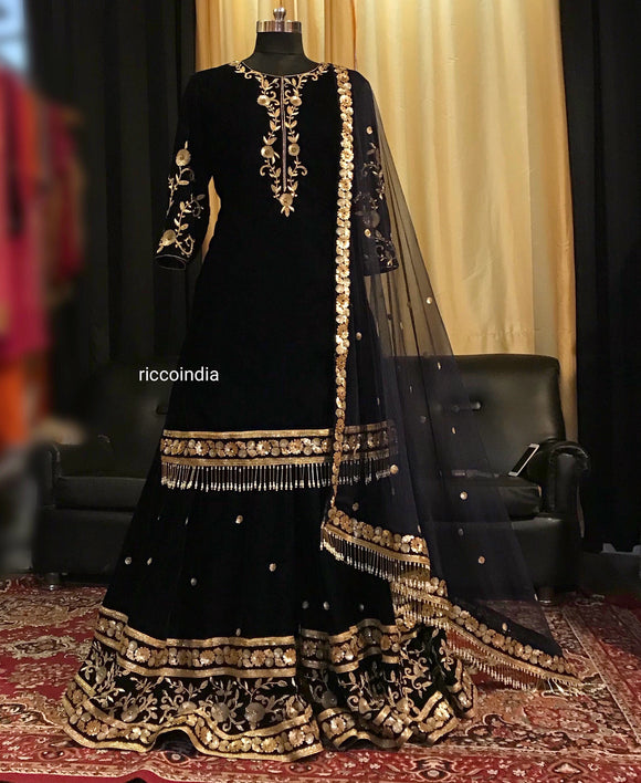 Navy blue embroidered sharara with pearl tassels