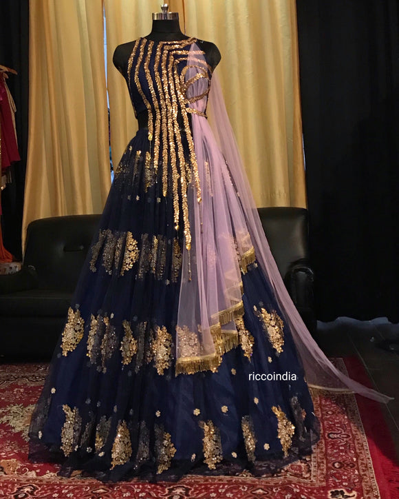 Blue and lavender draped dupatta Lehenga