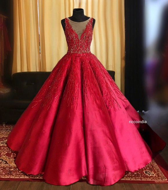 Structured red ball gown