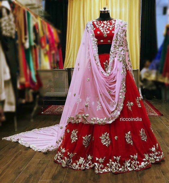 Red dori work Lehenga with pink draped cut work dupatta
