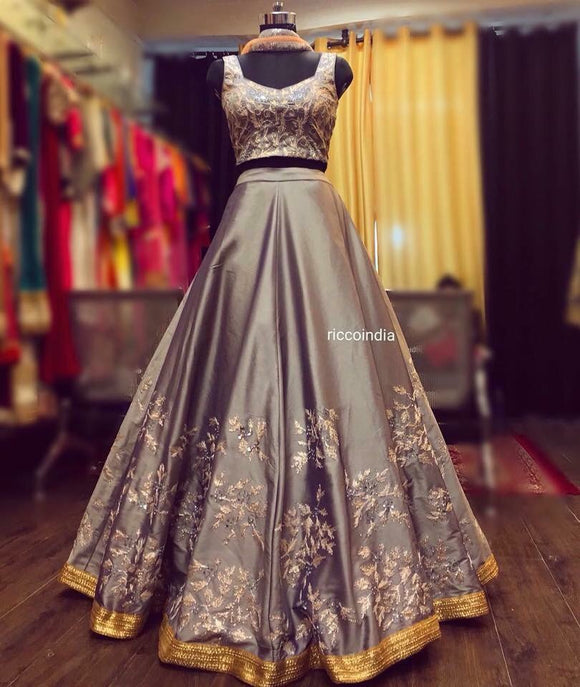 Grey Lehenga with rose gold gota work