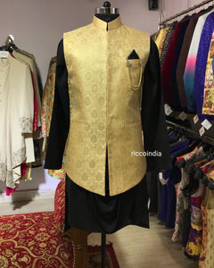 Black draped kurta and brocade waist coat