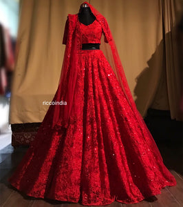 Red ball gown structure wedding lehenga