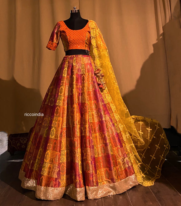 Colorful benarsi lehenga with Resham and sequins work dupatta